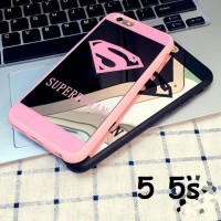 LUXURY SUPERMAN SUPERWOMAN MIRROR SOFT CASE FOR IPHONE 5 5S SE