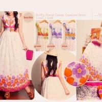 harga Ruffly Floral Classic Combine Dress - Maxi Dress Long Dress Panjang Tokopedia.com
