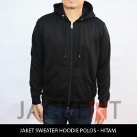 Jual Jaket/Sweater Hoodie Hitam Polos (Zipper) Murah