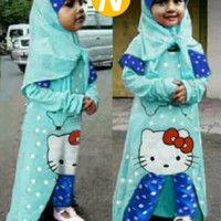 Set Muslim Anak Perempuan Lucu Fit 3-5 th, Maxi+Bergo+Cln (Bilqis Set)