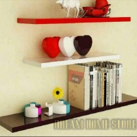 Jual rak floating shelves 1set uk/ 80-60-40 dinding melayang gantung promo Murah