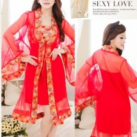 Costume Yukata Kimono Mini Oriental Red BD28 Cosplay Import