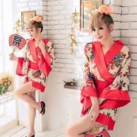 Costume Yukata Kimono Mini Flower Vintage Red BD28 Cosplay Import