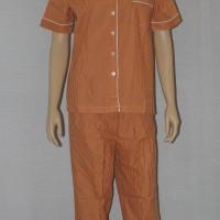 baju tidur/piyama dewasa motif stripe/garis celana panjang coklat