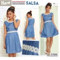[ Dress Salsa SW] pakaian wanita dress denim biru muda