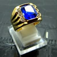 Cincin Titanium Import Gold Pria / Cowok Model Persegi Biru 2