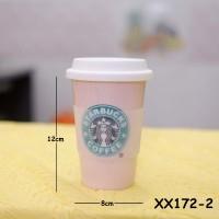 Mug starbucks pegangan karet Peach XX172-2