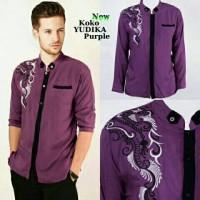 Baju Muslim pria Baju Koko Bordir Yudika Purple