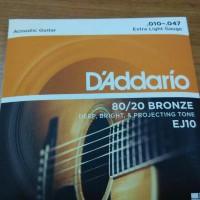 Jual D'Addario EJ 10 Senar Gitar Akustik 010 Original USA Murah