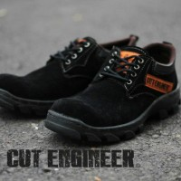 Cut Engineer Safety Low Boots Luxury Hitam