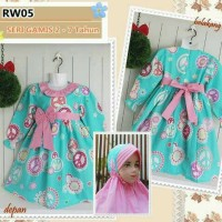 Muslim anak - set dress+jilbab RW05