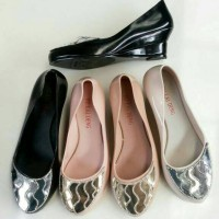 Sepatu Kerja Formal Wedges Shoes Blink Silver