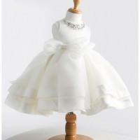 gaun anak Perempuan model tutu warna putih variasi manik dan pita