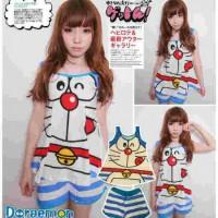 STDR68 - Setelan Tanktop Doraemon Face Stripe Blue