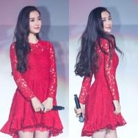 23408 BAJU PESTA FASHION WANITA CEWEK KOREA LAYERED DRESS ARTIS IMPORT