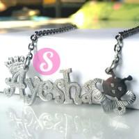 Kalung Nama Silver Grafir - Ayesha