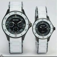 jam tangan couple Rhytim black white
