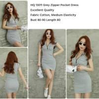 HQ 13011 Grey Zipper Pocket Dress