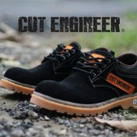 NEW !!! Cut Engineer Safety Rubber Low Boots Leather Hitam