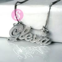 Kalung Nama Silver Grafir - Glesia