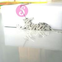 Kalung Nama Silver Grafir - Isma
