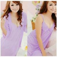Baju Tidur Dress Lingerie Seksi Model Kimono Sleepwear Cantik Ungu