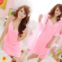 Baju Tidur Dress Lingerie Seksi Model Kimono Sleepwear Cantik Pink