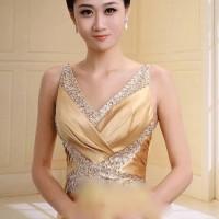 Gaun pesta panjang bahan silk dan bertali dekorasi manik / longdress g