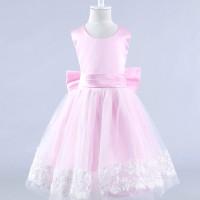 harga Gaun pesta anak warna Pink muda model pita besar dan renda di bwh rok Tokopedia.com
