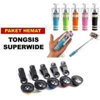 Jual Paket Tongsis Mini Kabel Lipat no Bluetooth no Karakter + Superwide Murah