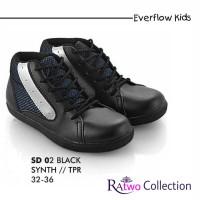Sepatu Kets Anak Sekolah SD Sneakers Bertali Hitam Laki Perempuan