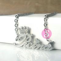 Kalung Nama Silver Grafir - Reina
