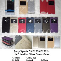 Sony Xperia C3 D2533 D2502 - Ume Leather Flip Cover View (Case Casing)