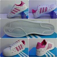 Sepatu Adidas Super Star Ladies Putih Motif Pink Grade Ori
