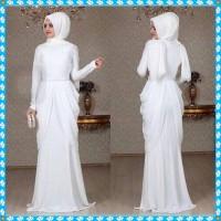baju muslim warna putih model terbaru , gamis murah