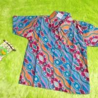 kemeja batik bayi cakra Diagonal biru