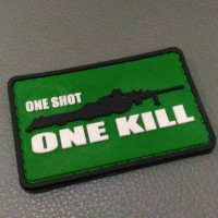 Patch Rubber One Shoot, Emblem Tactical, Tempelan Stiker Militer