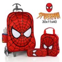 Jual Tas Trolley Mask Spiderman 3D 4 in 1 Set Murah