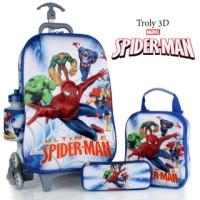 Jual Tas Trolley Spiderman 3D 4 in 1 Set Murah