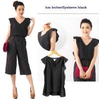 Branded Blouse V-Neck Black Hitam Polos Baju Atasan Wanita Yukensi M-L