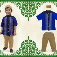 Baju Koko Anak Lil Kids Biru Pendek Free Topi