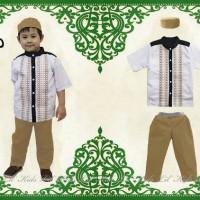 Baju Koko Anak Lil Kids Putih Pendek Free Topi