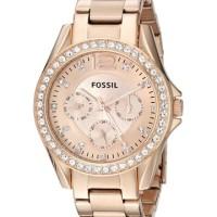 Jam Tangan Fossil Original Wanita ES2811 Riley Rose Gold Elegant
