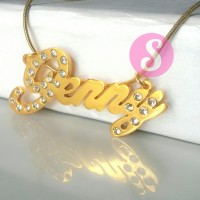 Kalung Nama Lapis Emas Permata - Jenny