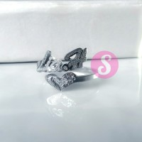Cincin Nama Silver Grafir - Lia