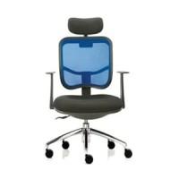 kursi kantor indachi model jaring modern stylish kaki chrome& headrest