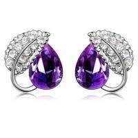 Acacia Leaves Crystal Earrings 925 Sterling Silver / Anting - Purple