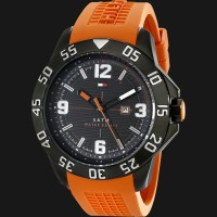 Tommy Hilfiger 1790985 Stainless Steel Watch With Orange Silicone Band