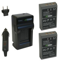 Wasabi Power Battery (2-Pack) and Charger for Olympus BLS-5, BLS-50