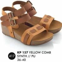 harga Sepatu Sandal Wedges Kuning Comb Wanita/ Casual/ gaya/ gladiator Tokopedia.com